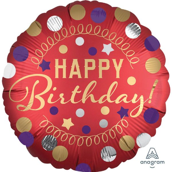 Happy Birthday Red Satin Standard XL Foil Balloon